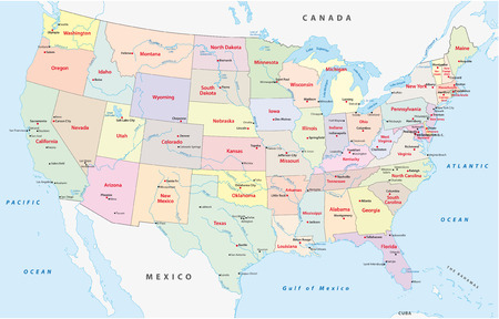 united states administrative map Vettoriali