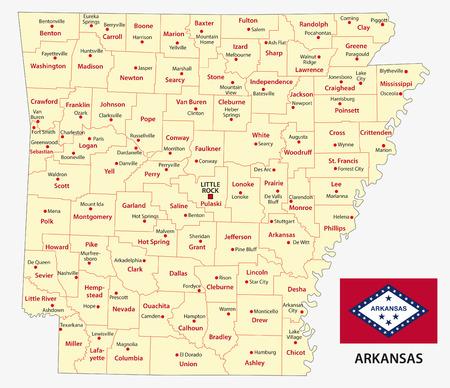 administrativo: mapa administrativo arkansas con la bandera