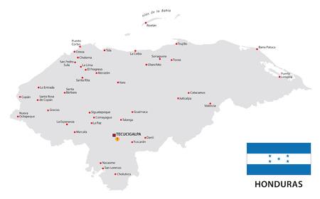 bandera honduras: Honduras mapa con la bandera
