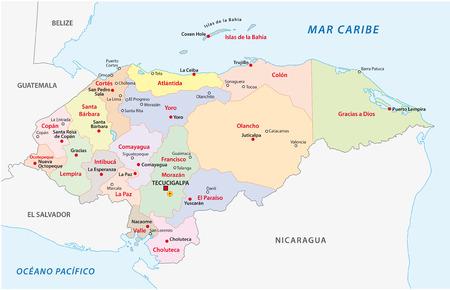 honduras: honduras administrative map