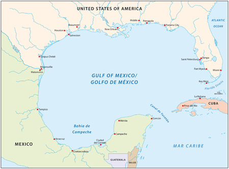 gulf of mexico map Vectores