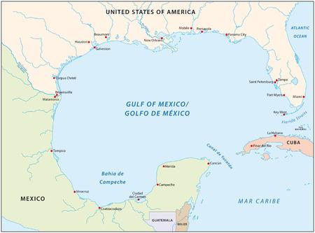 Zatoki Meksykańskiej mapie Ilustracje wektorowe