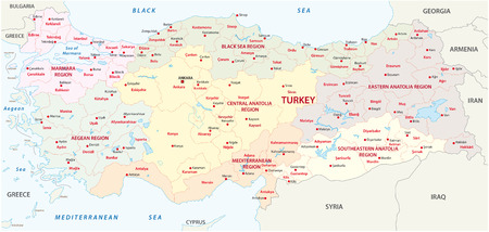 regions: turkey regions map Illustration