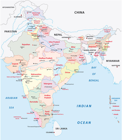 china map: india administrative map 2015 including Telangana Illustration