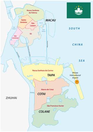 macau administrative map with flag