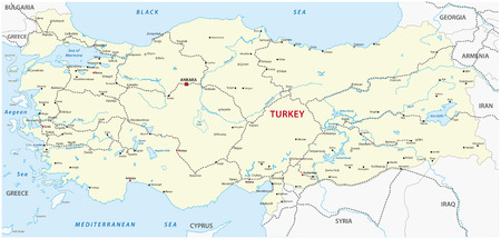 turkey: turkey railroad map Illustration