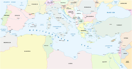 mediterranean sea map 일러스트