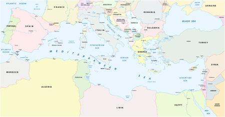 Middellandse Zee kaart Vector Illustratie