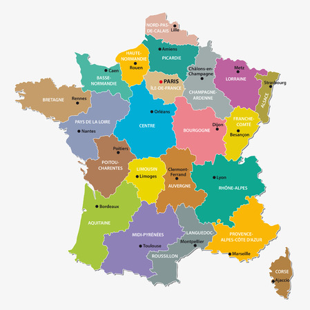 france administrative map Vector