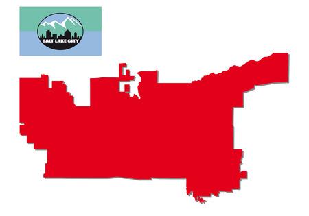 salt lake city: salt lake city map with flag