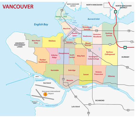 vancouver: vancouver road and administrative map
