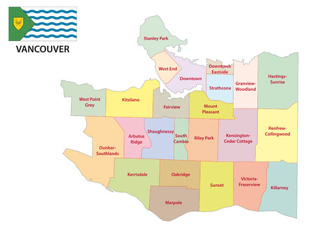 vancouver: vancouver administrative map with flag Illustration