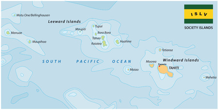 polynesia: society islands map with flag Illustration