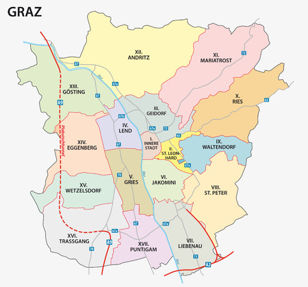 graz road and administrative map