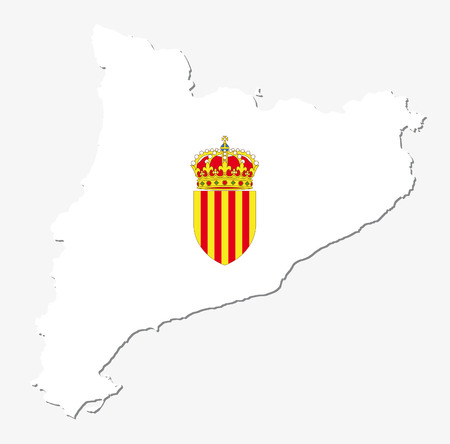 catalonia: catalonia map with coat of arms Illustration