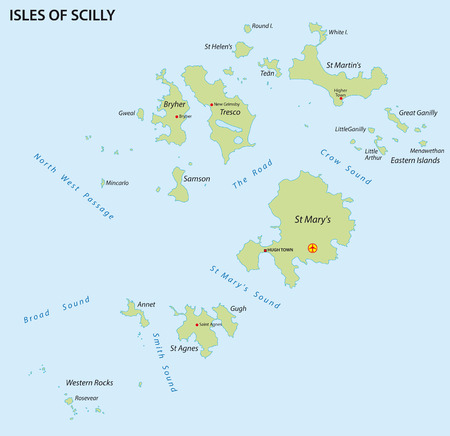 Isles of Scilly map Illustration