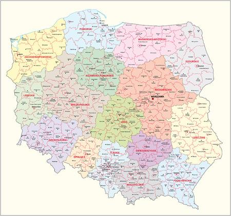 bestuurlijke kaart van Polen Vector Illustratie