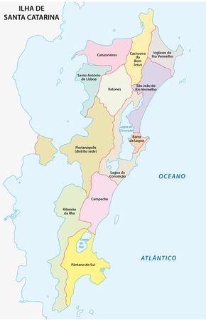 borderline: florianopolis district map Illustration