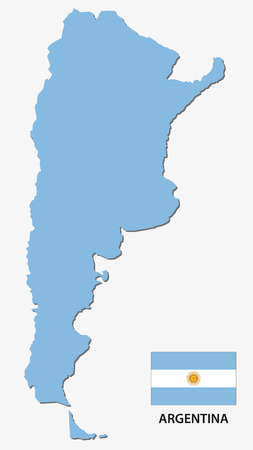 map of argentina: argentina map with flag
