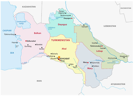 administrative: turkmenistan administrative map