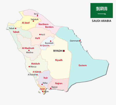 saudi arabia administrative map with flag