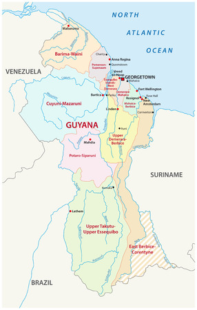 georgetown: guyana administrative map