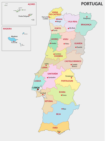 portugal administrative map Vector