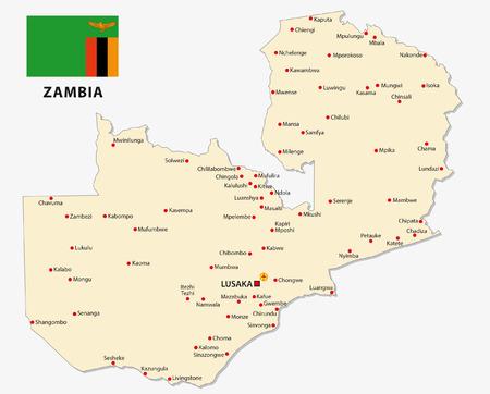 zambia: zambia map with flag