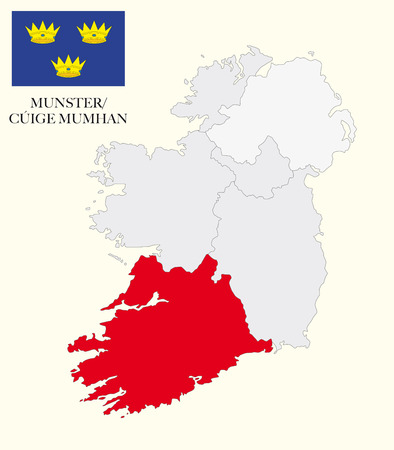 republic of ireland: munster map with flag