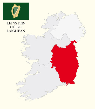 republic of ireland: leinster map with flag