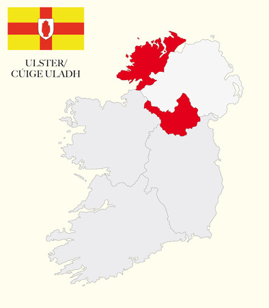republic of ireland: ulster map with flag Illustration