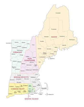 new england states administrative map