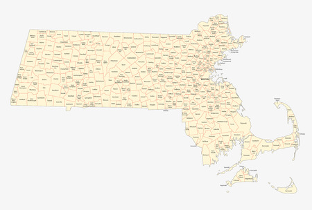 massachusetts cities and towns map Vector
