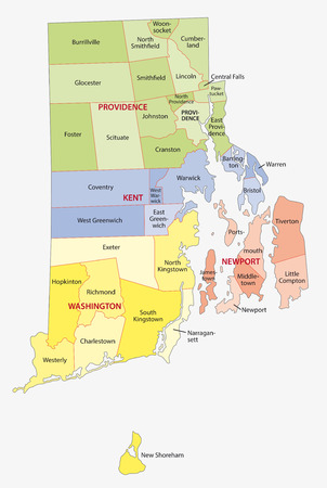 rhode island county and city map