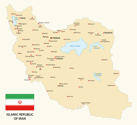 iran map with flag Illustration