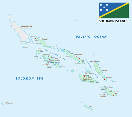 island state: solomon Islands map with flag Illustration