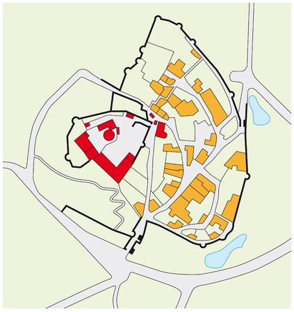 fortalecimiento: plano de planta de un castillo medieval con el pueblo Vectores