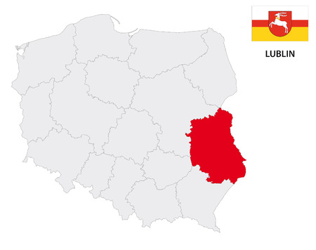 lublin: lublin province map with flag Illustration