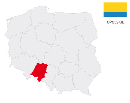 polska: opole province map with flag