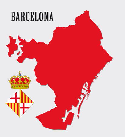 urban area: barcelona map with coat of arms