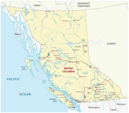 northwest: british columbia road map Illustration