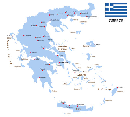 greece: greece map with flag Illustration