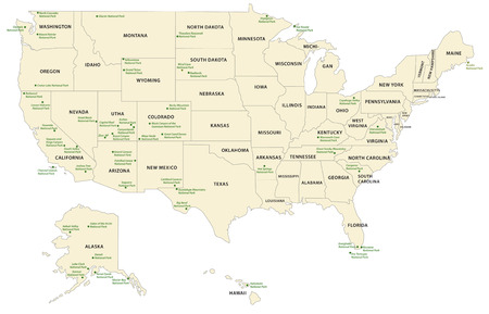 map of usa: national park map USA Illustration