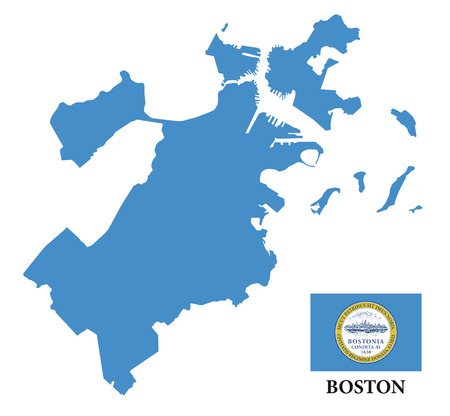 boston map with flag Ilustrace