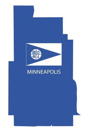 minneapolis kaart met vlag