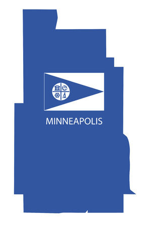 minneapolis map with flag Ilustrace