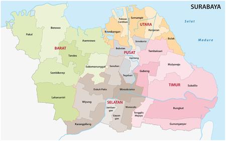 スラバヤ行政地図