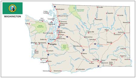 Washington wegenkaart met vlag Stockfoto - 39589248