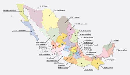 Mexico postal code areas map