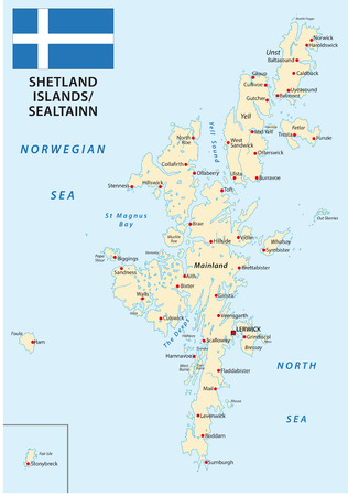 isles: Shetland Islands map with flag